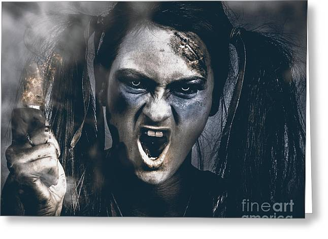 Spooky Portrait Of Dead School Girl Giving Finger Greeting Card by Jorgo Photography - Wall Art Gallery