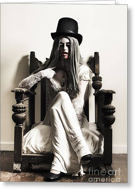 Spooky Vampire Woman. High Fashion Horror Greeting Card by Jorgo Photography - Wall Art Gallery
