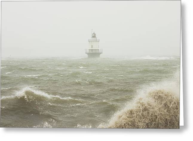 Spring Point Ledge Lighthouse In Storm In Portland Maine Greeting Card by Keith Webber Jr