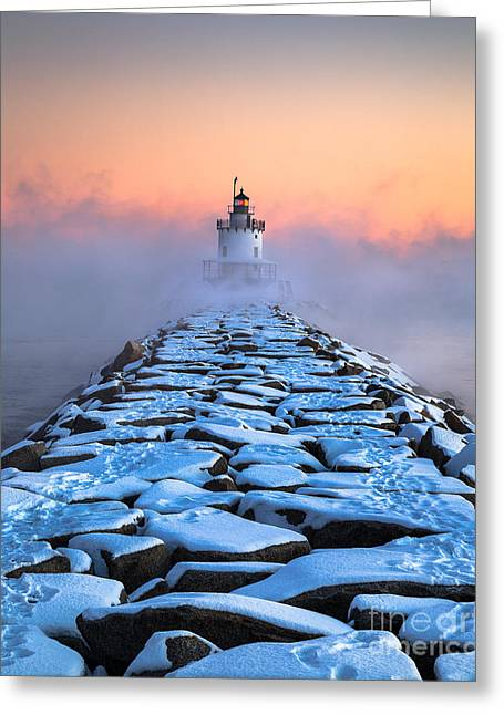 Spring Point Ledge Sea Smoke Greeting Card