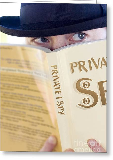 Spying Private Eye Greeting Card by Jorgo Photography - Wall Art Gallery