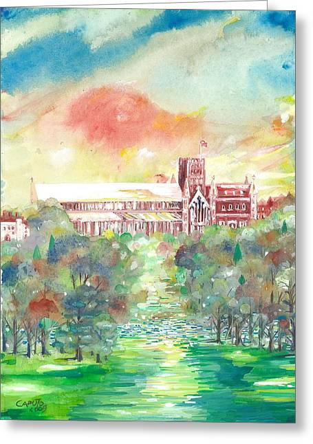 St Albans Abbey - Sunset Greeting Card