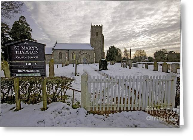 St Mary's Tharston Greeting Card by Darren Burroughs