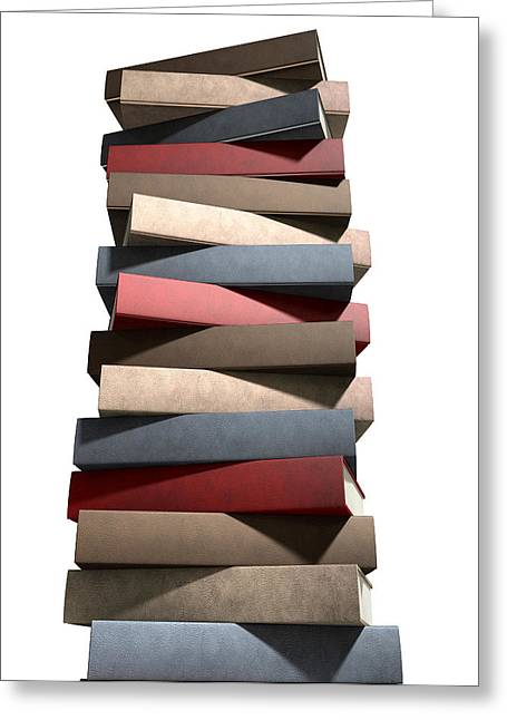 Stack Of Generic Leather Books Greeting Card by Allan Swart