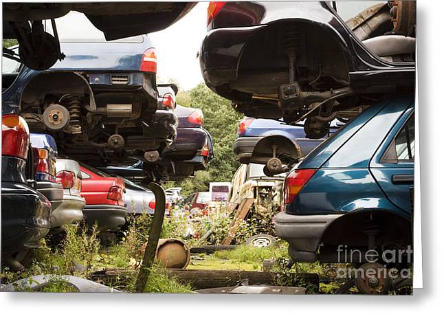 Stacked Cars Greeting Card