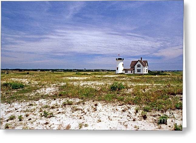 Stage Harbor Lighthouse Greeting Card by Skip Willits