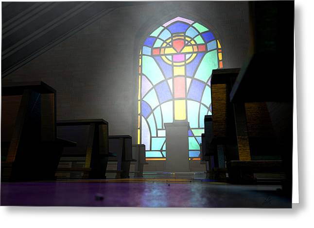 Stained Glass Window Church Greeting Card by Allan Swart