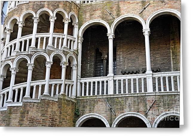 Staircase At Palazzo Contarini Del Bovolo Greeting Card by Sami Sarkis