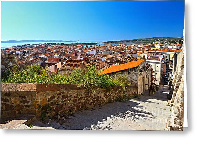 stairway and ancient walls in Carloforte Greeting Card by Antonio Scarpi