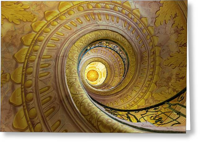 Stairway In The Abbey, Melk Abbey Greeting Card by Peter Adams