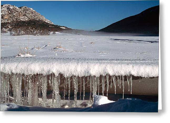 Stalactite Of Frozen Water In A Trough Greeting Card by Panoramic Images
