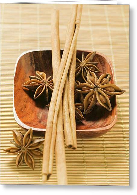 Star Anise And Cinnamon Sticks In Wooden Bowl Greeting Card