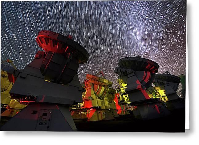 Star Trails Over Alma Telescopes Greeting Card by Babak Tafreshi