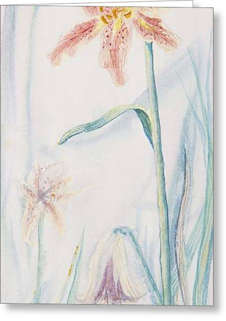 Greeting Card featuring the painting Stargazer Lily by Cathy Long