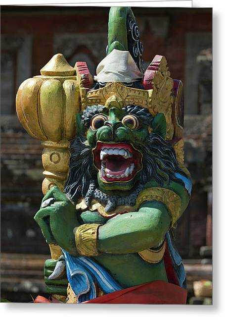Statue At Pura Ulun Danu Batur Temple Greeting Card