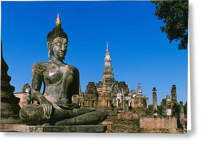 Statue Of Buddha In A Temple, Wat Greeting Card by Panoramic Images