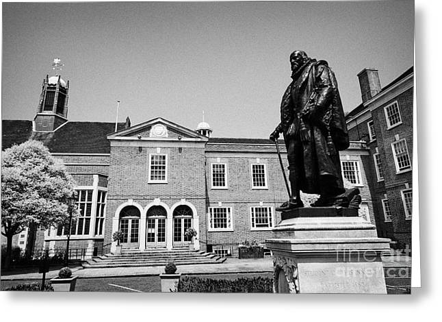 statue of francis bacon in front of grays inn hall London England UK Greeting Card