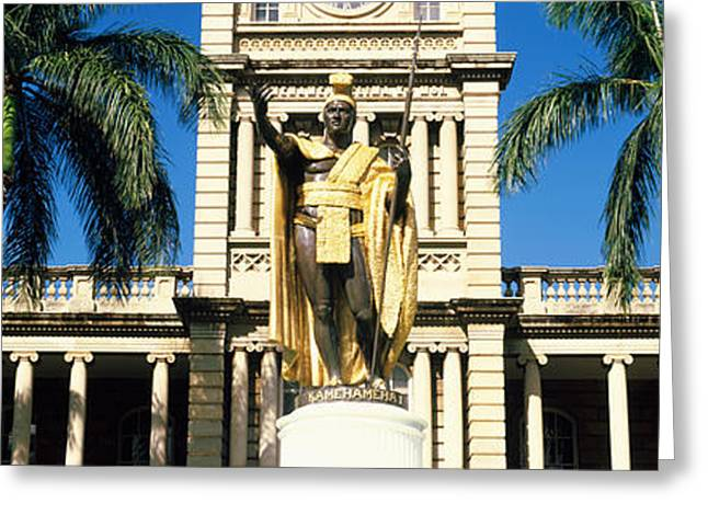 Statue Of King Kamehameha In Front Greeting Card