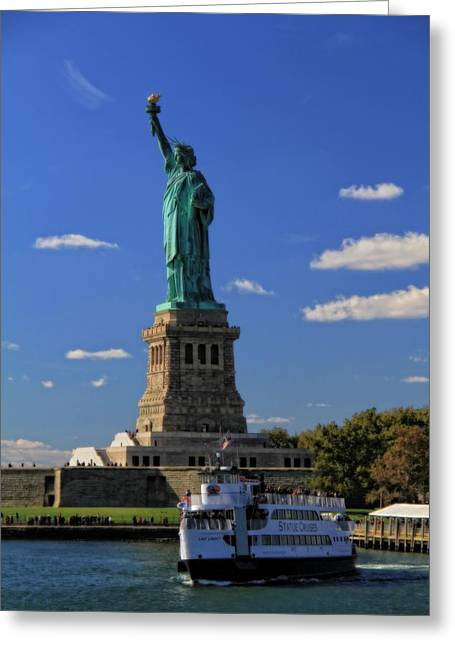 Statue Of Liberty Ferry Greeting Card by Dan Sproul