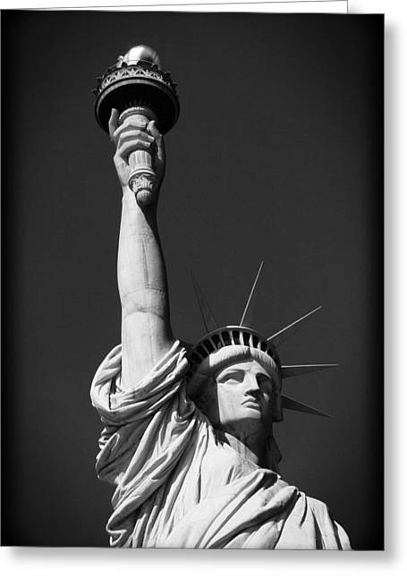 Statue Of Liberty In Black And White Greeting Card