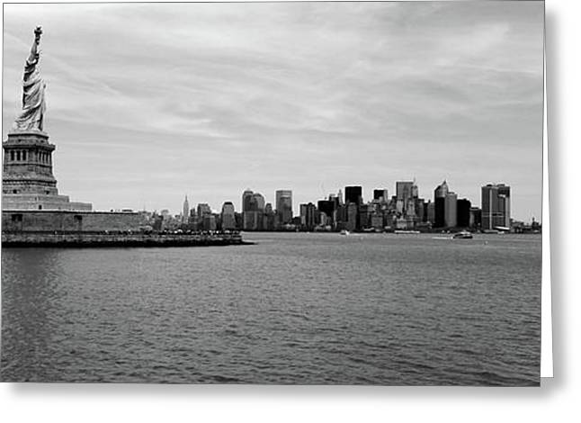 Statue Of Liberty With Manhattan Greeting Card by Panoramic Images
