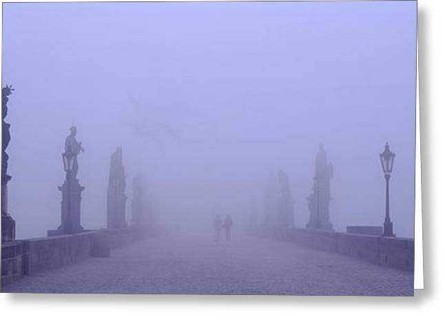 Statues And Lampposts On A Bridge Greeting Card by Panoramic Images