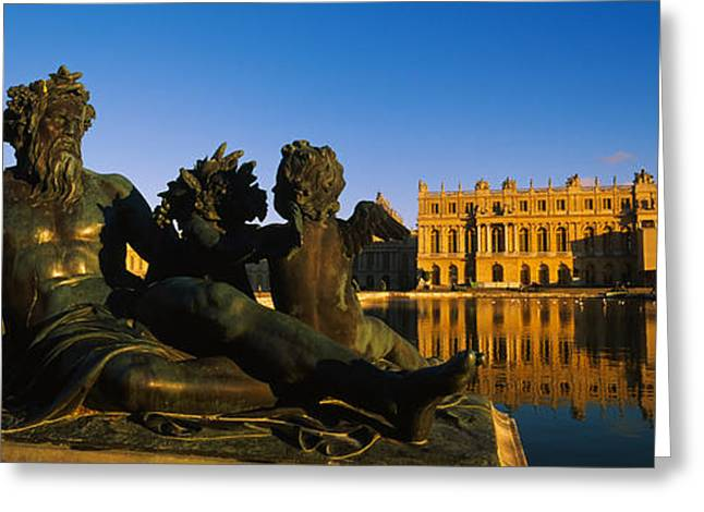 Statues In Front Of A Castle, Chateau Greeting Card