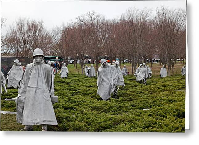 Statues Of Soldiers At A War Memorial Greeting Card