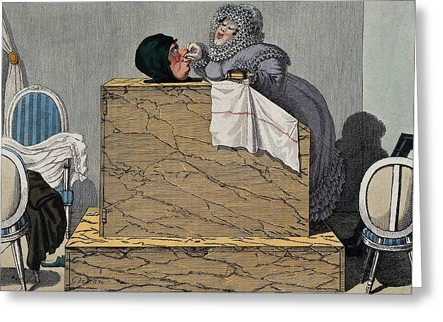 Steam Bath, 19th Century Greeting Card by Wellcome Images