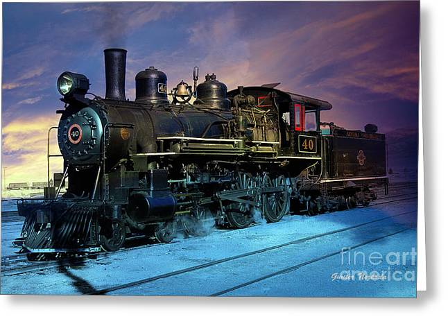 Greeting Card featuring the photograph Steam Engine Nevada Northern by Gunter Nezhoda