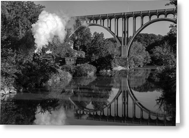 Steam In The Valley Nkp 765 Black And White Greeting Card
