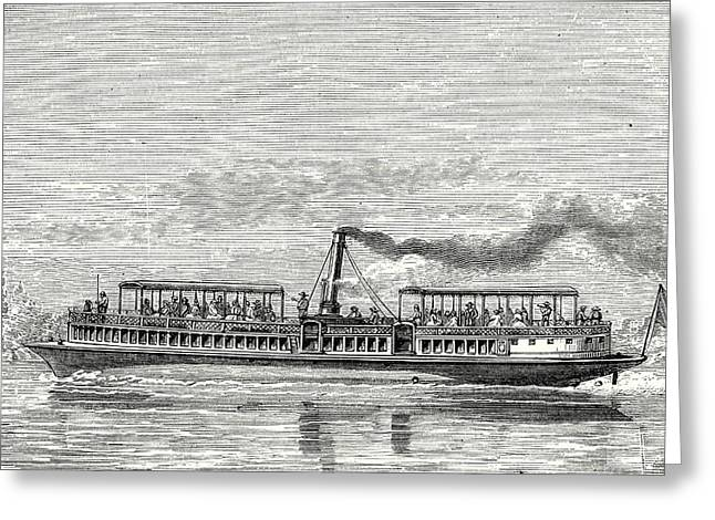 Steamboat Intended To Serve As A Ferry Service On The Seine Greeting Card by English School