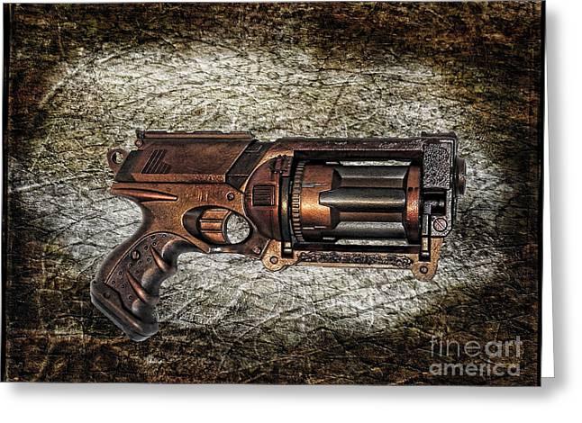 Steampunk - Gun - The Multiblaster Greeting Card by Paul Ward