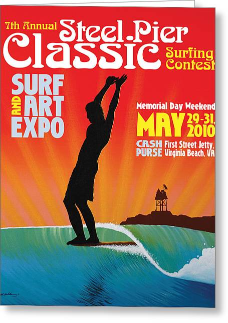 Steel Pier Classic Surf Contest Poster 2010 Greeting Card by Matthew Haddaway