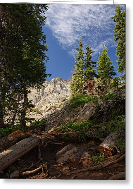 Steep Mountain Hike Greeting Card by Michael J Bauer