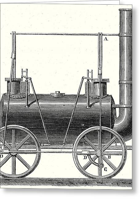 Stephensons Locomotive With Coupled Wheels Greeting Card