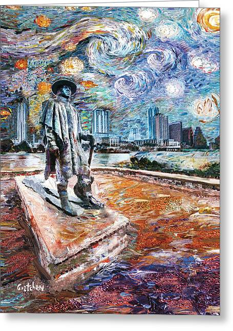 Stevie Ray Gogh Greeting Card by GretchenArt FineArt