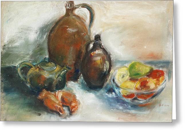 Still Life With Earthen Jugs Greeting Card by Barbara Pommerenke