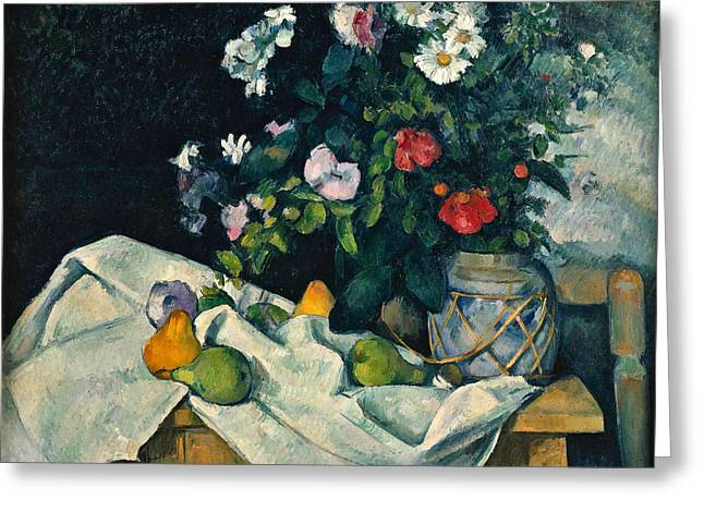 Still Life With Flowers And Fruit Greeting Card by Paul Cezanne