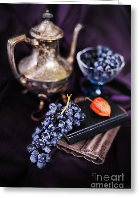 Still Life With Grapes And Silver Teapot Greeting Card by HD Connelly
