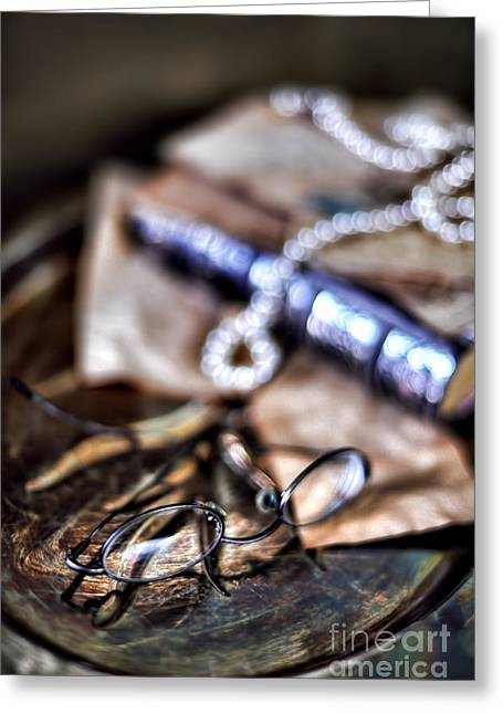 Still Life With Pearls And Glasses Greeting Card by HD Connelly