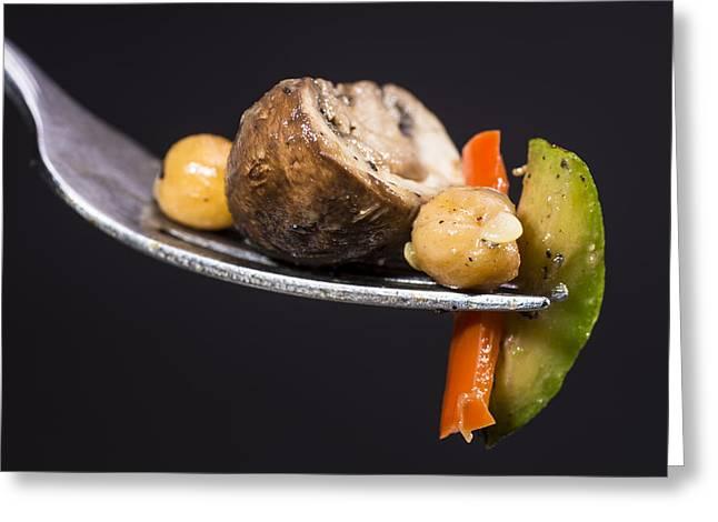 Stir Fried Vegetables On Fork Greeting Card by Donald  Erickson