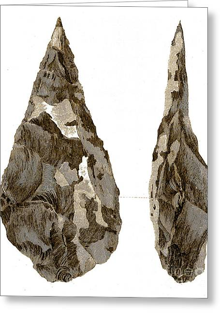 Stone Age Hand-axes From Hoxne, Suffolk Greeting Card by Science Source