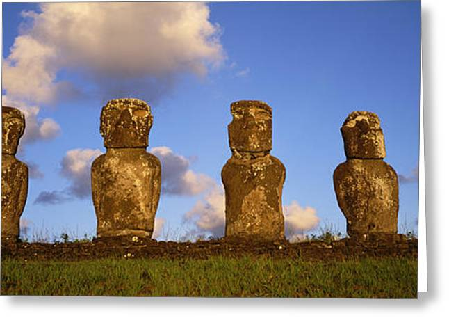 Stone Heads, Easter Islands, Chile Greeting Card