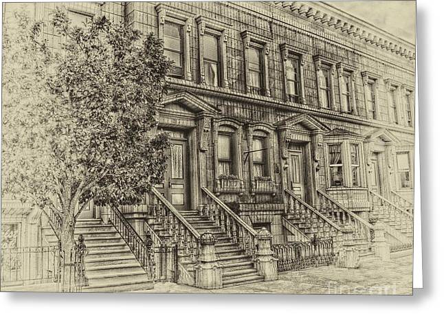 Stoop Ball Anyone Greeting Card by Arnie Goldstein