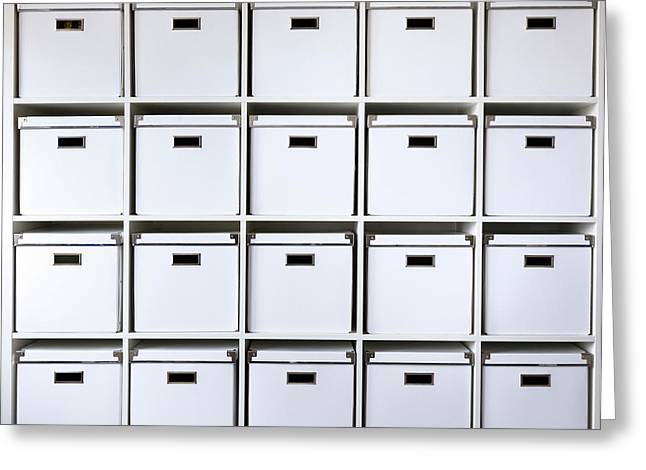 Storage Boxes On Shelves Greeting Card by Wladimir Bulgar