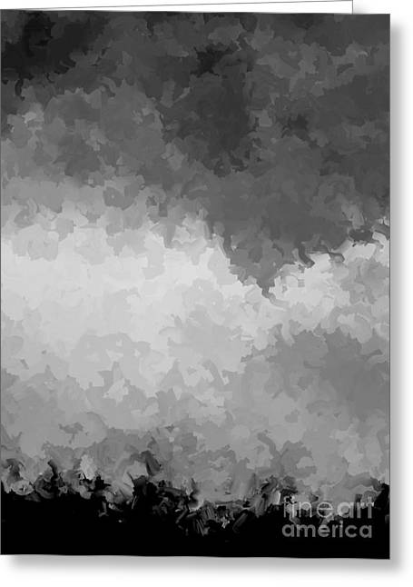 Storm Clouds Over A Cornfield Bw Greeting Card