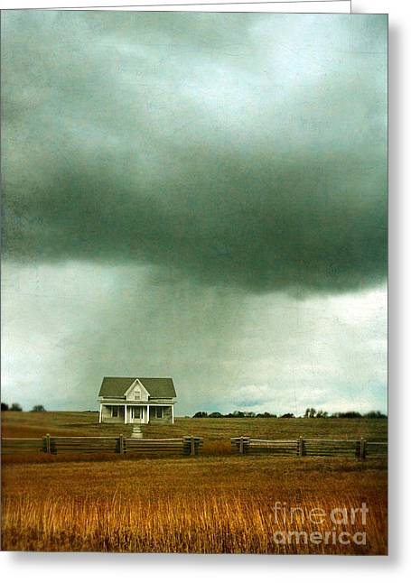 Storm Over Farmhouse Greeting Card