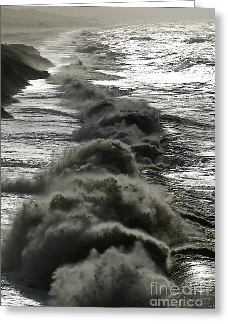 Storm Waves, Dorset Coast Greeting Card by Adrian Bicker