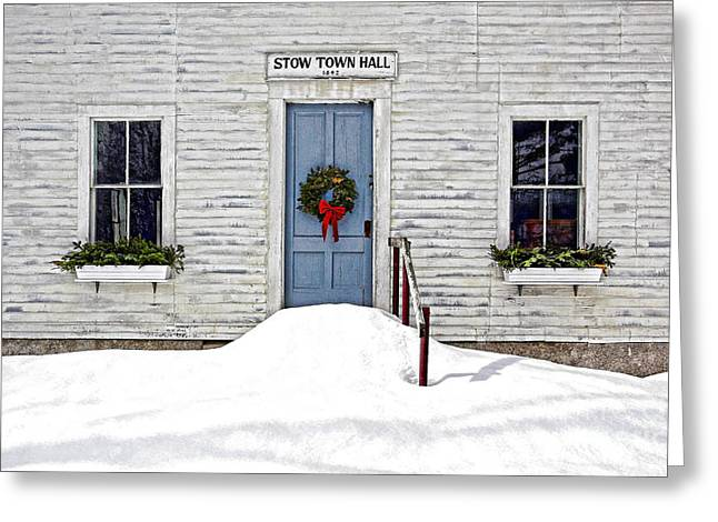 Stow Town Hall . 1842 Greeting Card by Thomas J Martin